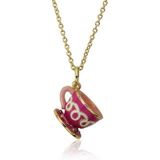 Molly Glitz 14k Gold Plated Hot Pink Crystal Dotted Tea Cup Pendant Necklace
