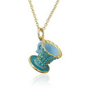 Molly Glitz 14k Gold Plated Aqua and Light Blue Tea Cup Pendant Necklace
