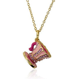Molly Glitz 14k Gold Plated Pink Crystal Striped Tea Cup Pendant Necklace