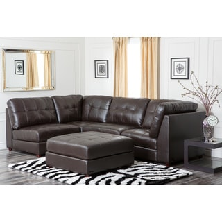 Abbyson Living Sonoma Top Grain Leather Modular Sectional Sofa