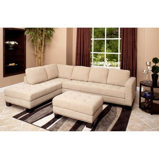 Abbyson Living Claridge Fabric Sectional and Ottoman Set