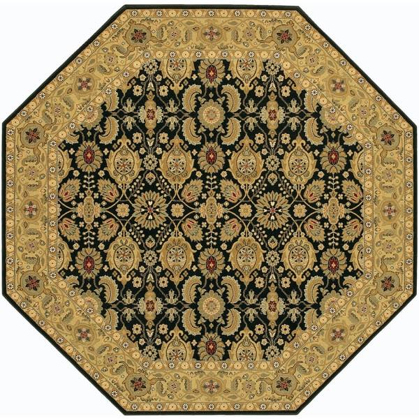 'Royal Kashimar' Vase Black/ Deep Maple Persian Wool Rug (7'10 Octagon)