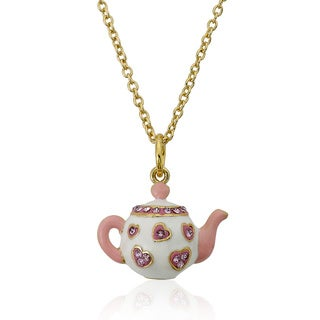 Molly Glitz 14K Gold Plated Pink Crystal Trimmed Tea Pot Pendant Necklace