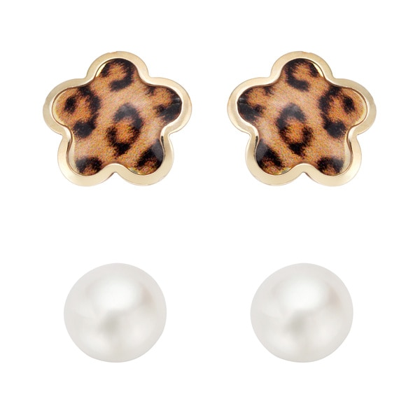 Pearlyta 14K Children Freshwater Pearl Enamel Flower Stud Earring Set (4-5 mm) with Gift Box