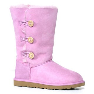 Ugg Kids Rose Quartz Bailey Button Triplet Boots (Size 6)