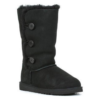 Ugg Kids Black Bailey Button Triplet Boots