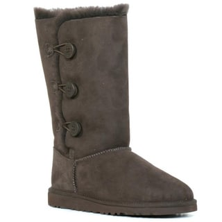 Ugg Kids Chocolate Bailey Button Triplet Boots