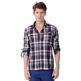 191 Unlimited Men's Slim Fit Grey Plaid Woven Shirt