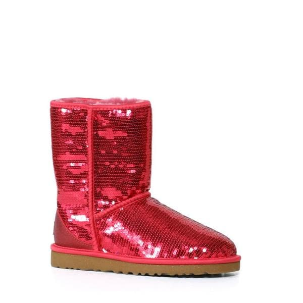 Ugg Women's Ruby Red Classic Short Sparkles Boots (Size 6)