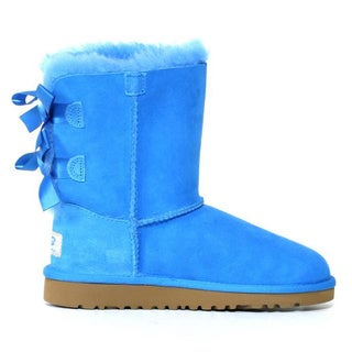 Ugg Kids 'Bailey' Blue Sky Leather Bow Boots - Overstock ...