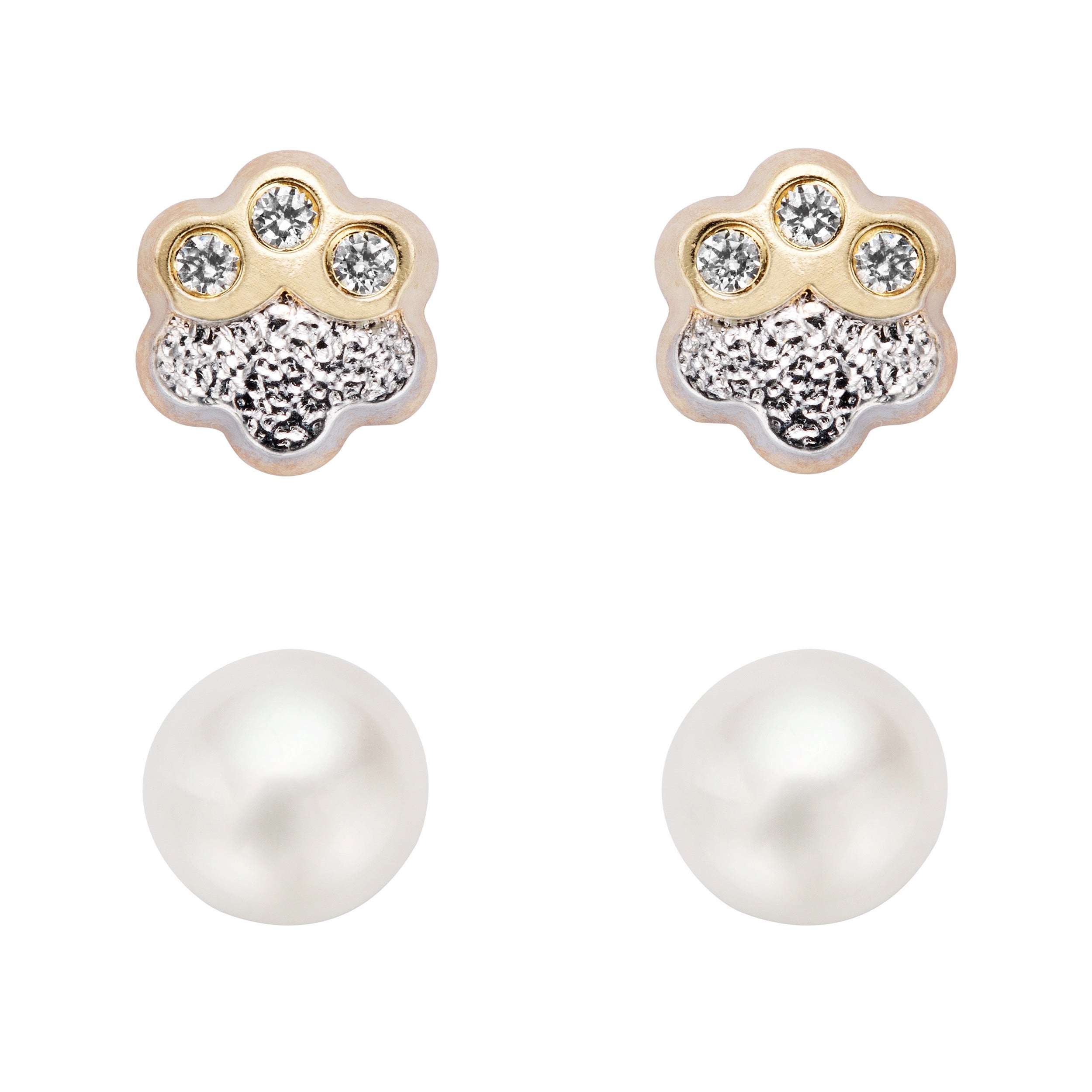 Pearlyta 14k Gold White Pearl and Cubic Zirconia Flower Stud Earring Set (4-5 mm) with Gift Box at Sears.com