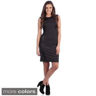 Amelia Knit Sheath Dress with Curved Faux Leather Panel