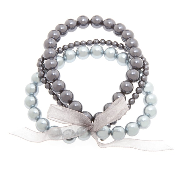 Roman Blue Faux Pearl 3-row Ribbon Stretch Bracelet