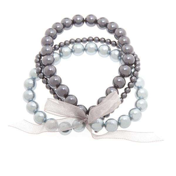 Roman Blue Faux Pearl 3-row Ribbon Stretch Bracelet