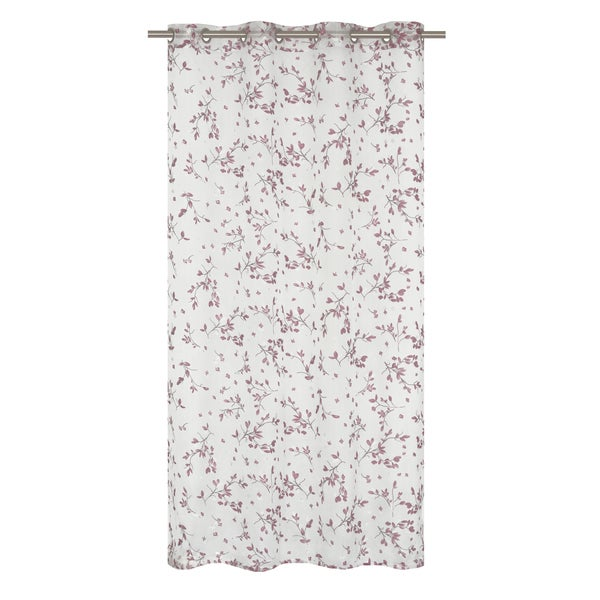 See bouquet printed floral burnout white plum red curtain panel pair