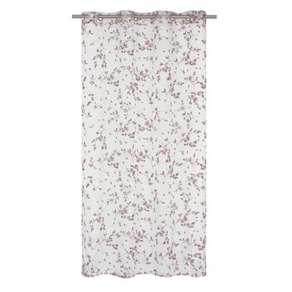 Bouquet Printed Floral Burnout White/ Plum Red Curtain Panel Pair