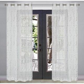 Silverado Embroidered Silver Branch Sheer Window Panel Pair