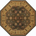 Royal Kashimar Cypress Garden Black/ Deep Maple Rug (7'10 Octagon)