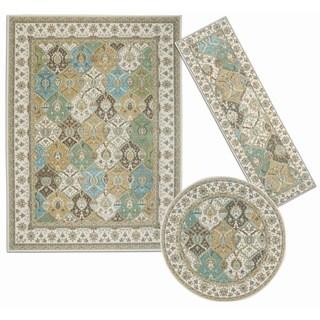 Nourision Assorted Diamonds Collection Beige 3-piece Rug Set