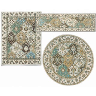 Mourison Assorted Diamonds Collection Beige and Coffee 3-piece Rug Set