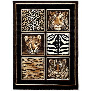 Skinz Design Black Animal Print Rug (5'x7')