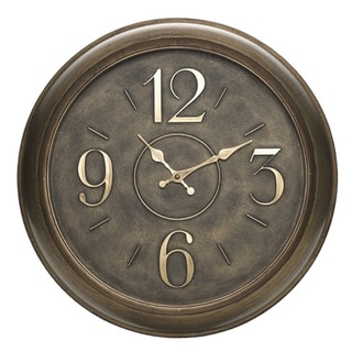 Elements Round 18-inch Bronze Number Clock