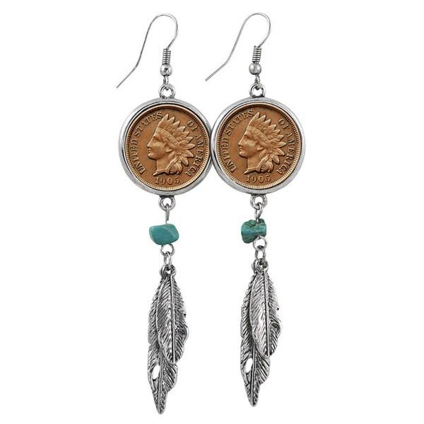100 Year Old Indian Head Penny Feather Silvertone Earrings