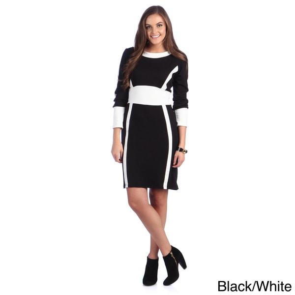 Amelia Women's Colorblocked Long Sleeve Sheath Dress