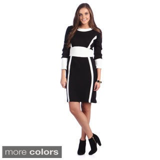 Amelia Women's Colorblocked Long Sleeve Sheath Dress