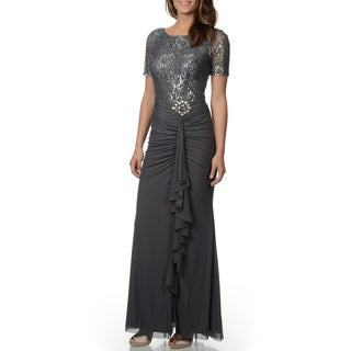 Decode 1.8 Women's Dark Silver Mixed Media Gown