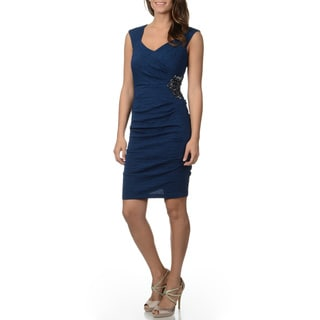 Decode 1.8 Women's Dark Teal Puckered Sheath Dress