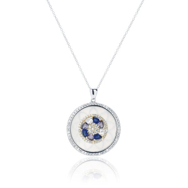 Blue Box Jewels Rhodium Plated Silver CZ Coin Style Pearl Pendant Necklace
