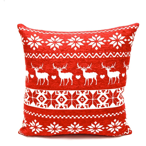 Reindeer Holiday Throw Pillow