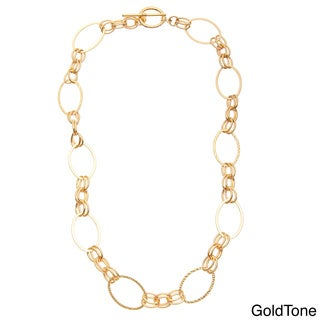 Simon Frank 14K Gold Overlay/Rhodium Double Oval Glamour Link Chain Necklace