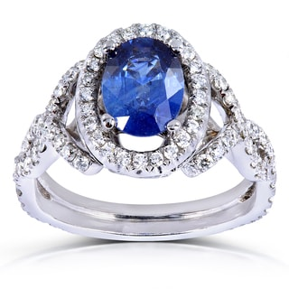 Annello 14k White Gold Blue Sapphire and 3/4 ct TDW Diamond Ring (G-H, VS1-VS2)