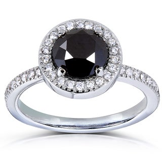 Annello 14k Gold 1 7/8 ct TDW Black and White Diamond Halo Ring (H-I, I1-I2)