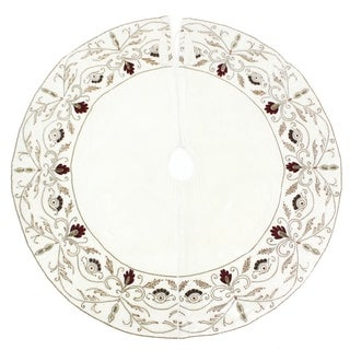 Velvet Red Beaded Tree Skirt (India)