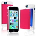BasAcc White/ Hot Pink Hybrid Case with Card Slot for Apple iPhone 5C