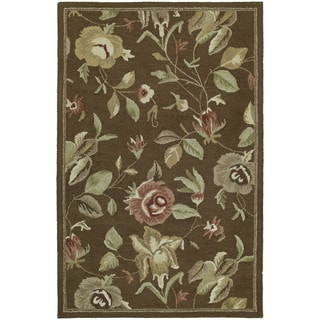 Lawrence Brown Floral Hand-tufted Wool Rug (8' x 11')
