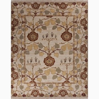 Handmade Arts and Craft Pattern Ivory/ Red Wool Rug (10 x 14)