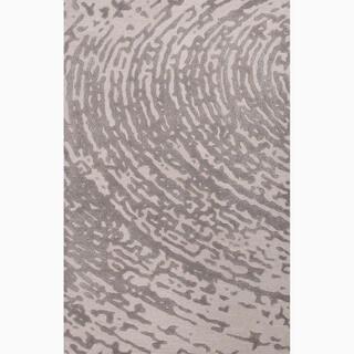 Handmade Ivory/ Gray Wool/ Art Silk Te x tured Rug (9 x 12)