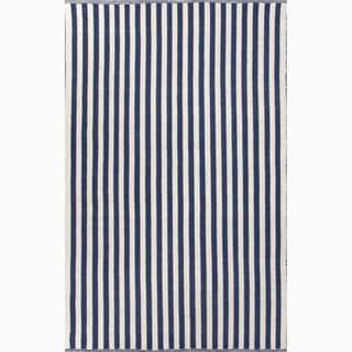Handmade Blue/ Ivory Wool Easy Care Rug (4 x 6)