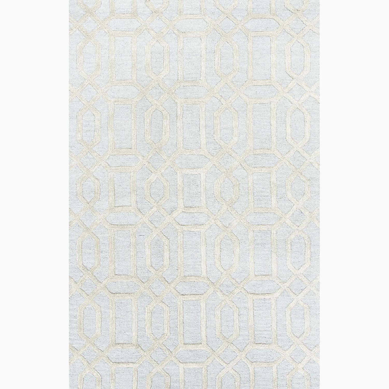 Handmade Geometric Pattern Blue/ Gray Wool/ Art Silk Rug (8 x 11)