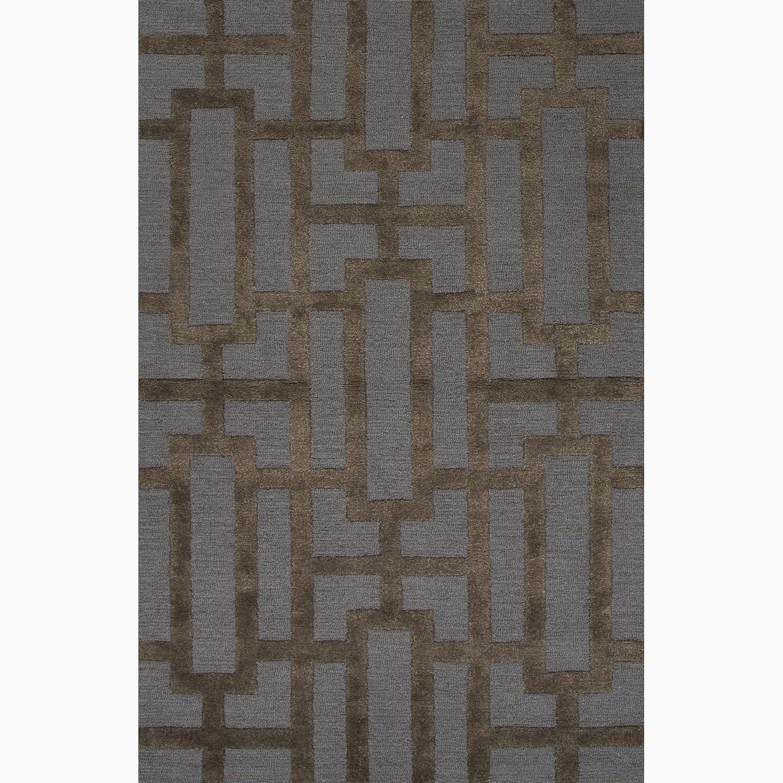Handmade Geometric Pattern Blue/ Brown Wool/ Art Silk Rug (8 x 11)