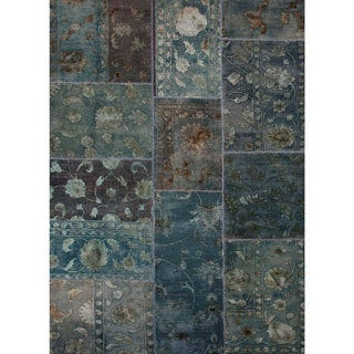 Handmade Oriental Pattern Blue Wool/ Silk Rug (8 x 10)