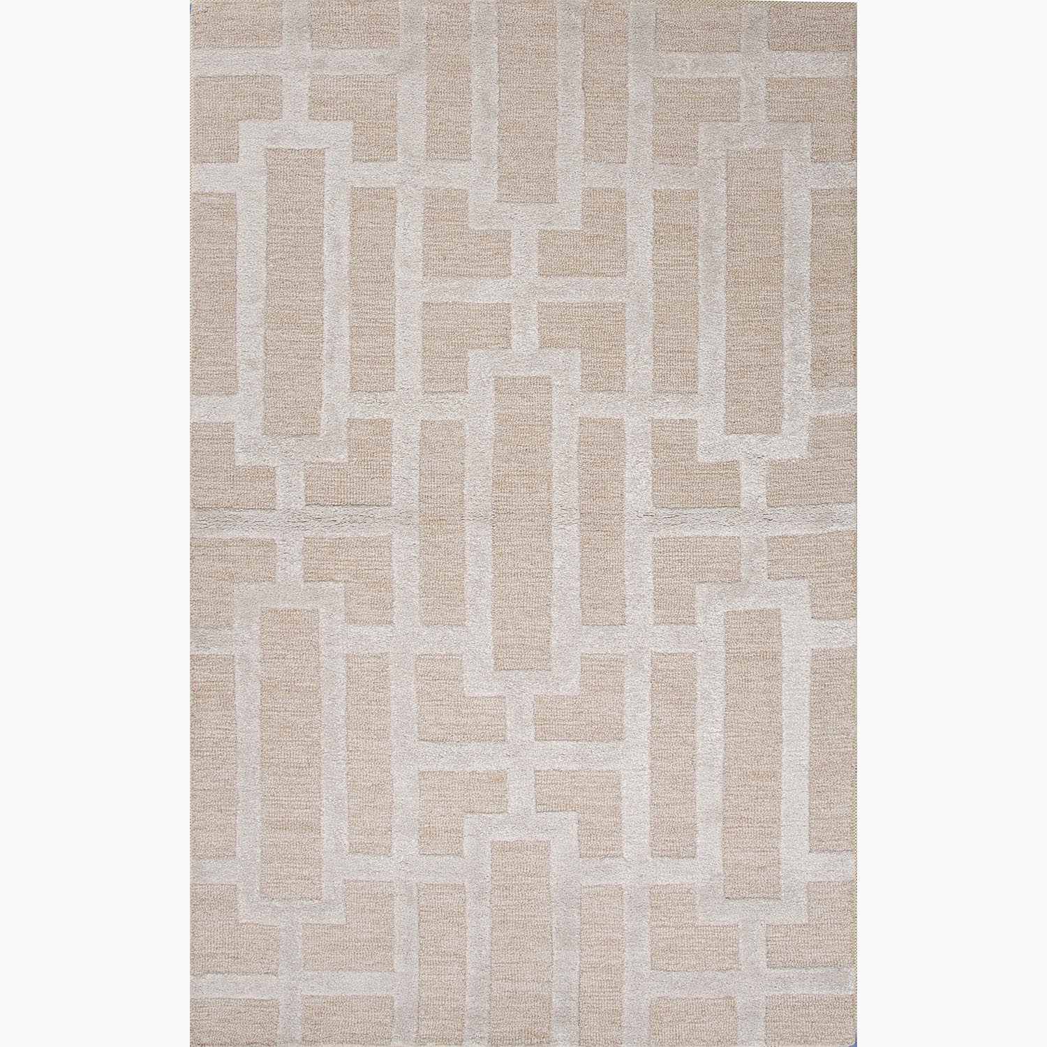 Handmade Geometric Pattern Taupe/ Gray Wool/ Art Silk Rug (9'6 x 13'6)