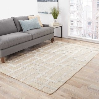 Handmade Geometric Pattern Taupe/ Gray Wool/ Art Silk Rug (8 x 11)