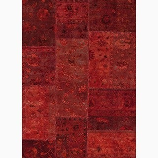 Handmade Oriental Pattern Red Wool/ Silk Rug (9 x 12)