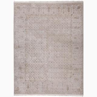 Handmade Oriental Pattern Gray/ Ivory Wool/ Silk Rug (8 x 10)
