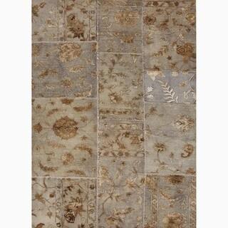 Handmade Oriental Pattern Gray Wool/ Silk Rug (5 x 8)